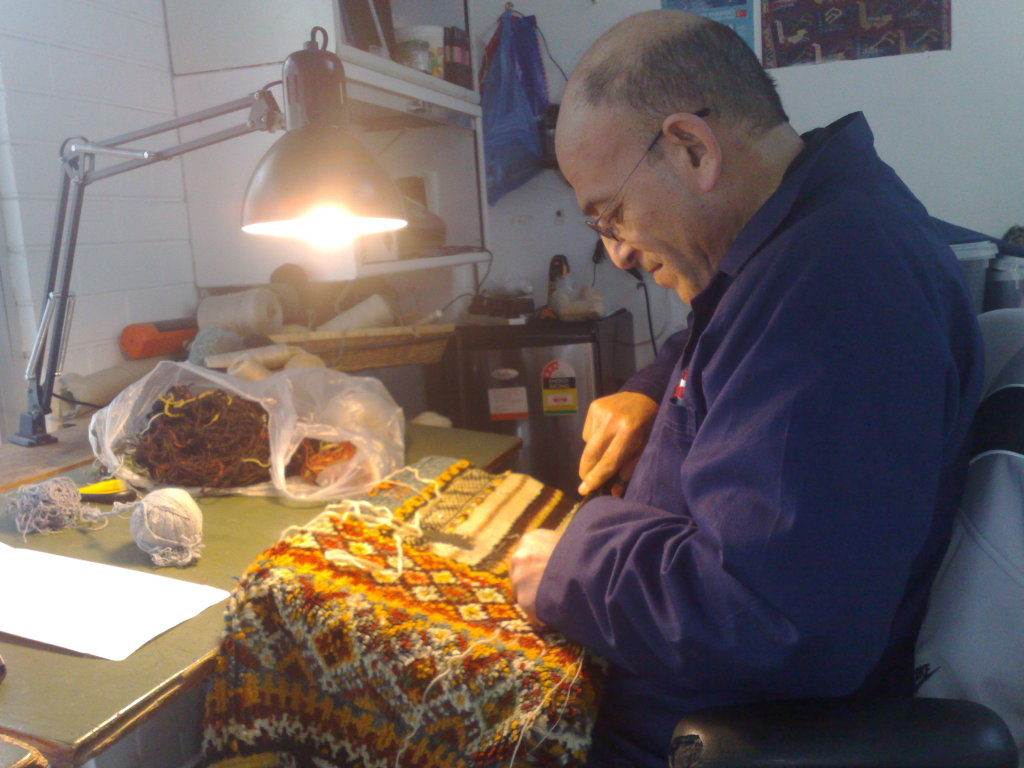 Ahmet Solak Persian Carpet Repair and Restoration Co - Ahmet at work 2013