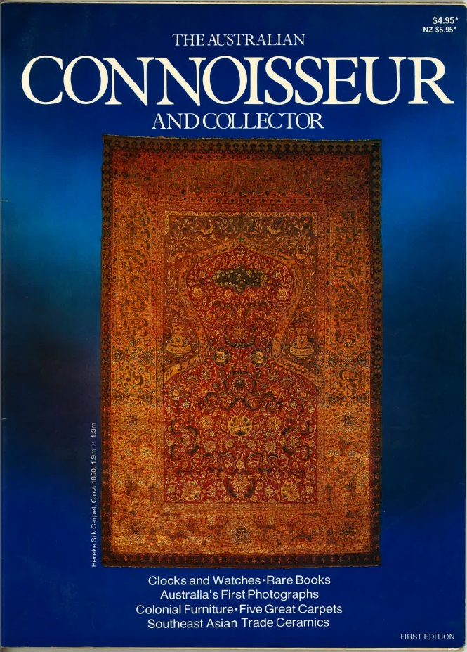Ahmet Solak Persian Carpet Repair and Restoration Co appears in 1981 The Australian Connoisseur and Collector (Cover)