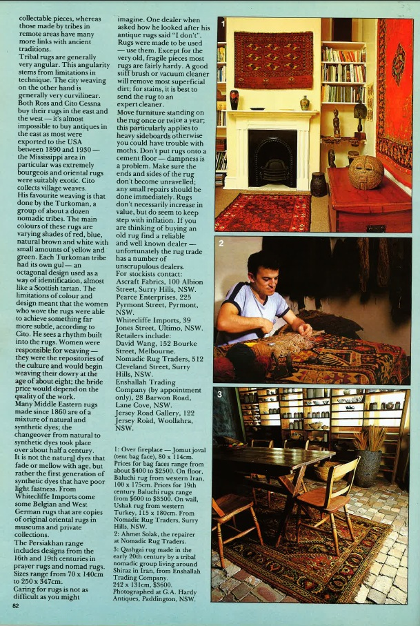 Ahmet Solak Persian Carpet Repair and Restoration Co appears in 1982 Classic Decorating (Article)