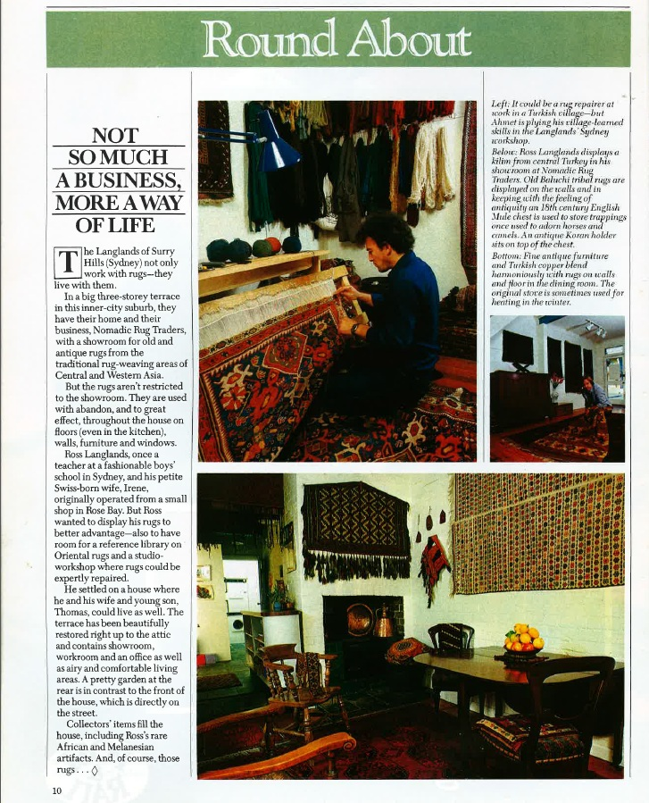 Ahmet Solak Persian Carpet Repair and Restoration Co appears in 1982 Home Journal (Article)