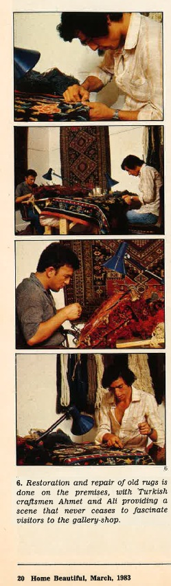 Ahmet Solak Persian Carpet Repair and Restoration Co appears in 1983 Home Beautiful (Article)